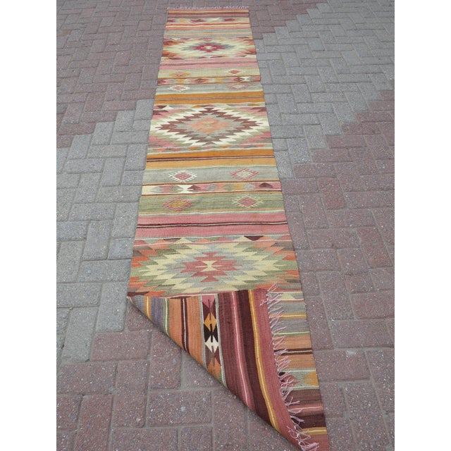 "Anatolian Kilim Runner Pastel Colored Hallway -2'1'x10"" For Sale - Image 9 of 13"