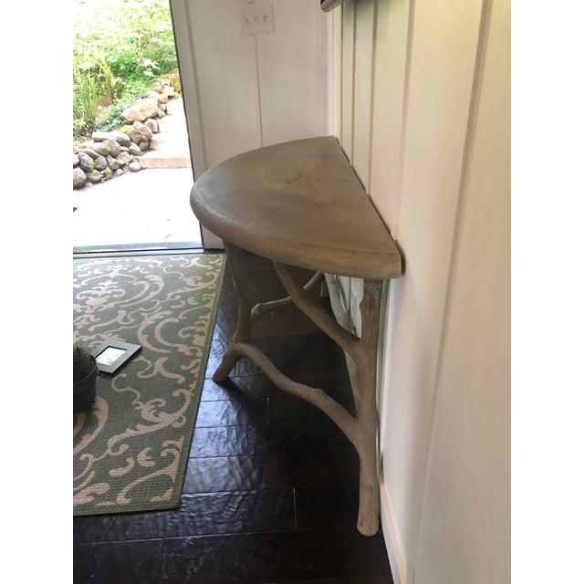 Tan Modern Cast Stone Concrete Faux Bois Demilune Console Table For Sale - Image 8 of 9
