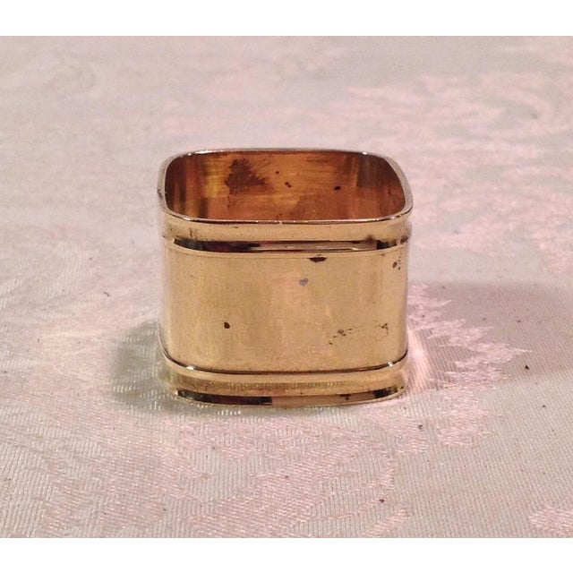 Mid-Century Modern Square Brass Napkin Rings - Set of 6 For Sale - Image 5 of 9