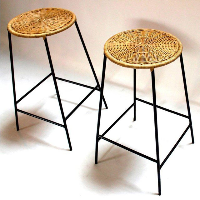 Arthur Umanoff Wicker & Metal Bar Stools, Arthur Umanoff Style - A Pair For Sale - Image 4 of 9