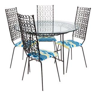1960s Arthur Umanoff Wrought Iron Dining Set Granada For Sale