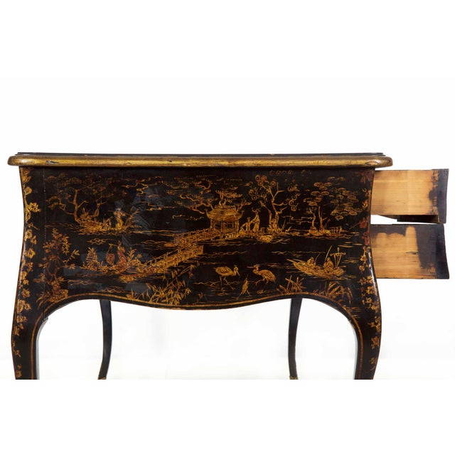 19th Century Louis XV Style Chinoiserie Decorated Bureau Plat Antique Writing Desk For Sale - Image 6 of 13
