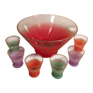 Ombre & Gold Rimmed Punch Party Glasses - Set of 7
