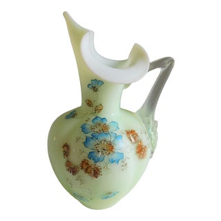 Antique Pastel Green Satin Glass Floral Pitcher For Sale