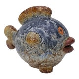 Image of Vintage Pottery Fish Sculpture For Sale