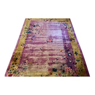 Chinese Art Deco Room Size Rug - 10′2″ × 13′5″ For Sale