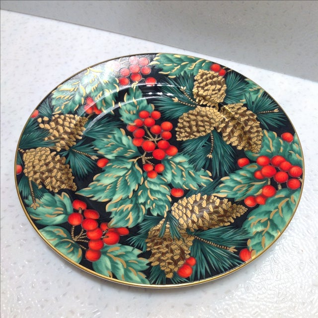 cottage fitz and floyd porcelain christmas plates set of 3 for sale image 3 - Christmas Plates