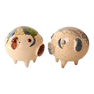 Roly Poly Mexican Pottery Pigs - a Pair For Sale