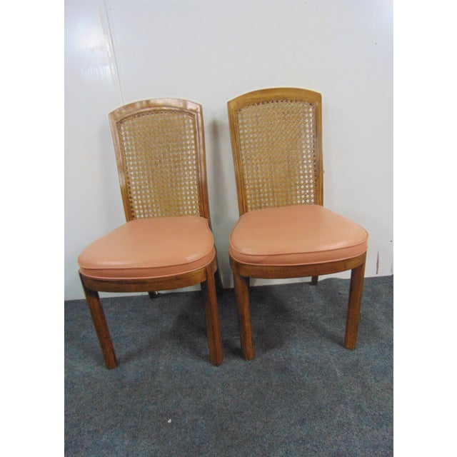 Drexel Drexel Mid Century Modern Fruitwood Caned Dining Chairs - Set of 8 For Sale - Image 4 of 7