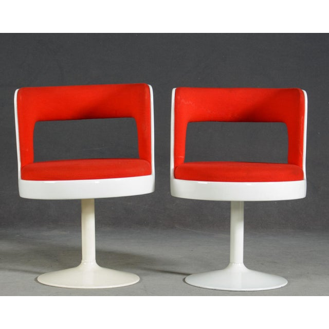 Asko 1970s Mid-Century Modern Red & White Easy Chairs - A Pair For Sale - Image 4 of 8