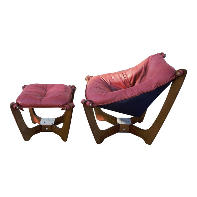 Mid Century Modern Odd Knutsen Luna Lounge Chair and Ottoman For Sale