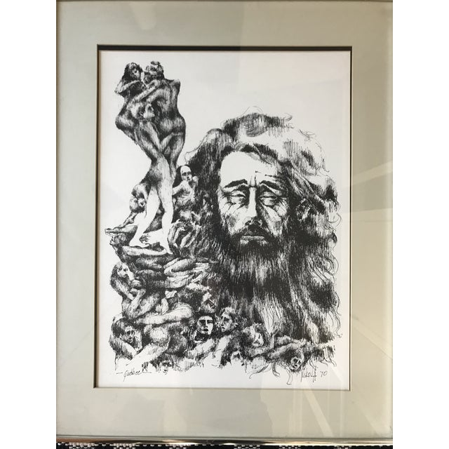 """Mid Century """"Quebec"""" sketch of men signed Nikola? 1970 in lower right corner. Mated and Framed in chrome frame, ready to..."""