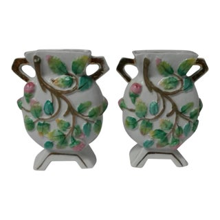 1950s Pink & Green Floral Vases or Urns - a Pair For Sale