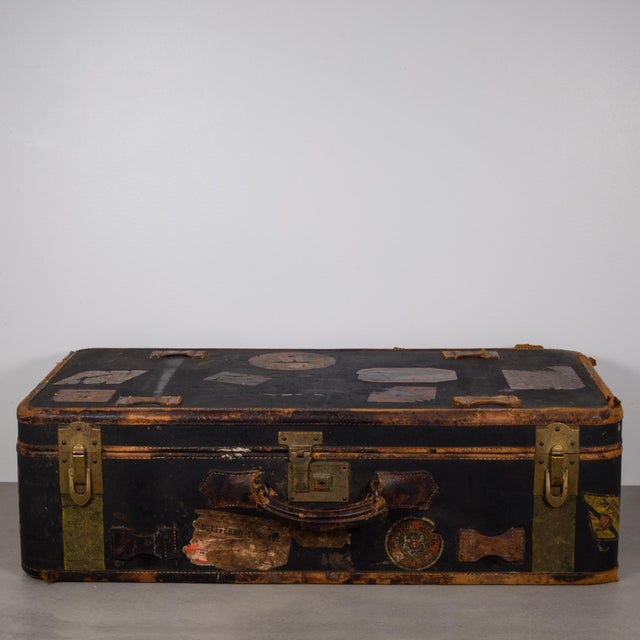 Industrial Antique Luggage With Original Travel Stickers C.1900-1930 For Sale - Image 3 of 11