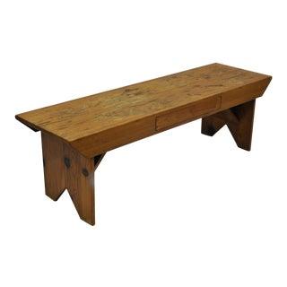 Handmade Pine Wood Vintage Bench Coffee Table