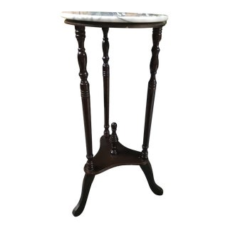 Mid 20th Century Hanstai Marble Top Parlor Plant Table For Sale