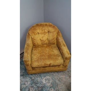 Mid-Century Mustard Yellow Crushed Velvet Club Chair Preview