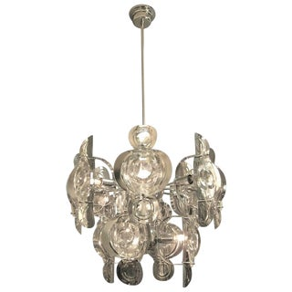Gaetano Sciolari Large Chrome and Glass Lens Chandelier, 1960s For Sale
