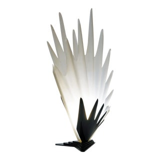 Sculptural White and Black Acrylic Table Lamp by Roger Rougier For Sale