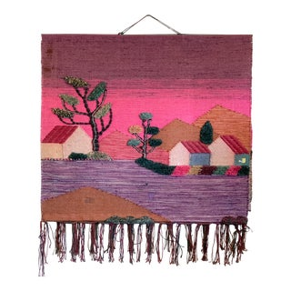 Handmade Knotted Textile Pictorial Wall Hanging Kilim Rug For Sale