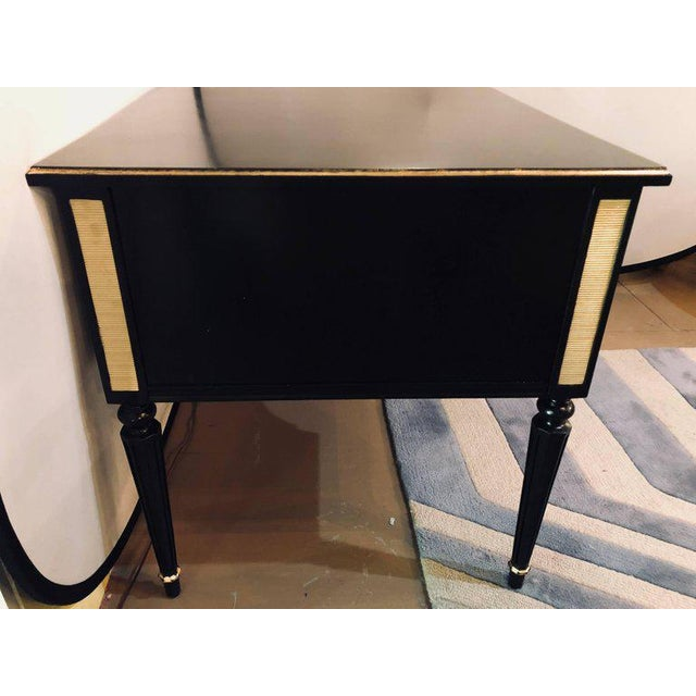 Louis XVI Style Bronze-Mounted Ebony Writing Desk or Vanity in Jansen Manner For Sale - Image 12 of 13