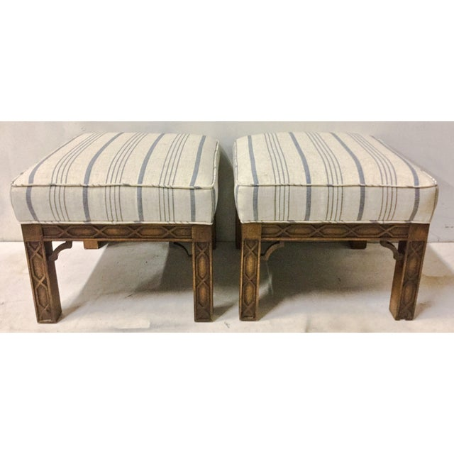Blue Pair of Chinese Chippendale Style Ottomans For Sale - Image 8 of 8
