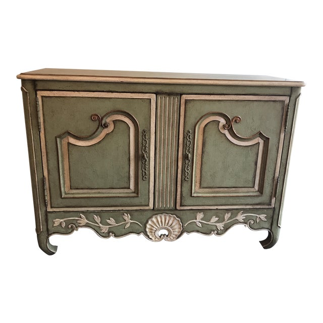Traditional Light Green With Cream and Gold Sideboard For Sale