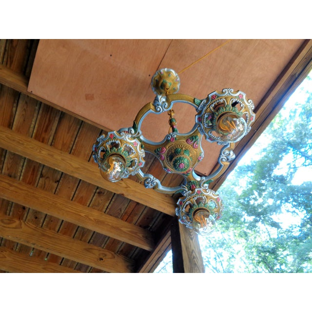 Antique Small Green and Blue Art Deco Chandelier - Image 3 of 9