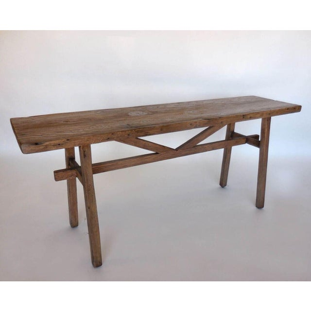 Reclaimed Wood Console with High Stretcher - Image 2 of 8