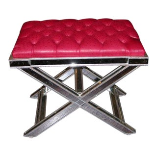 Pair of Custom Silver X-Band Benches with Red Leather For Sale