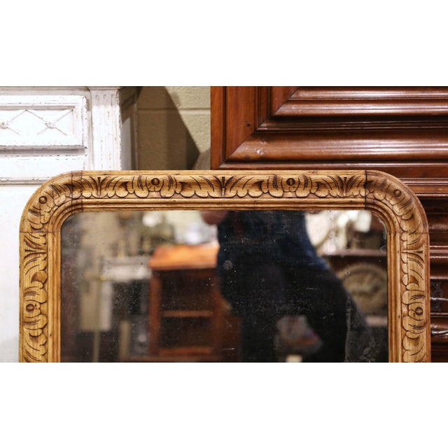 19th Century French Louis XIII Carved Bleached Oak Wall Mirror For Sale - Image 4 of 8