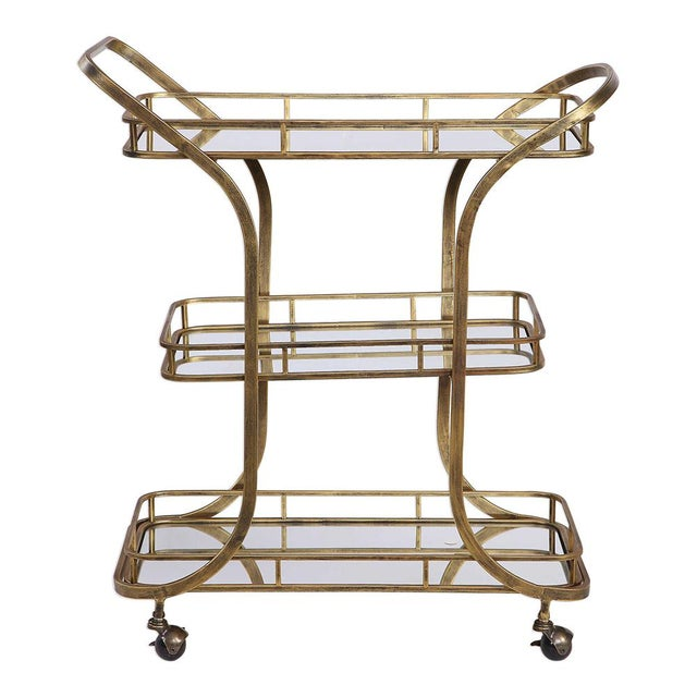 Antique Brass Iron Bar Cart For Sale - Image 4 of 4