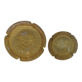 Set of Amber Blenko Glass Ashtrays For Sale