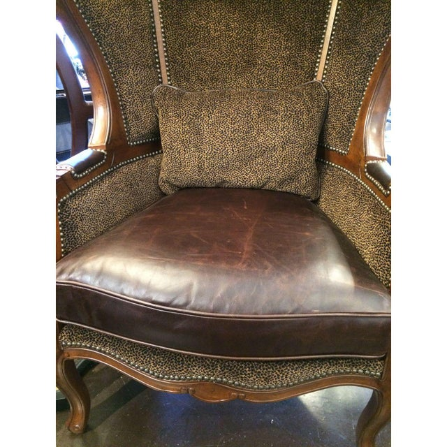 Leopard & Leather Canopy Porters Chair For Sale - Image 4 of 9