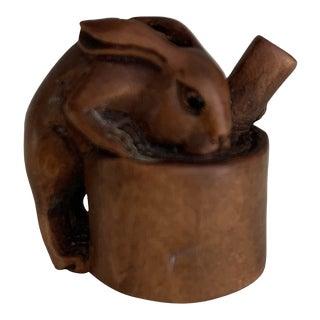 Wood Carved Bunny Netsuke Charm Figurine For Sale