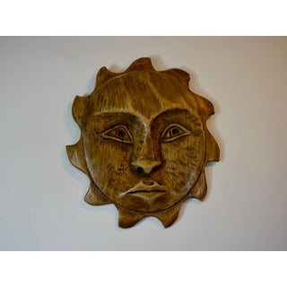 1960's Mid-Century Wood Carved Sun Face Preview