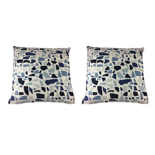 "Duralee Hc Monogram/LuLu Dk Designs ""Abstractions"" in Marine Pillows - a Pair For Sale"