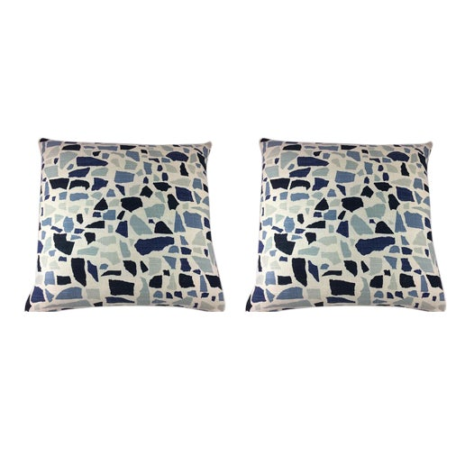 """Duralee Hc Monogram/LuLu Dk Designs """"Abstractions"""" in Marine Pillows - a Pair For Sale"""