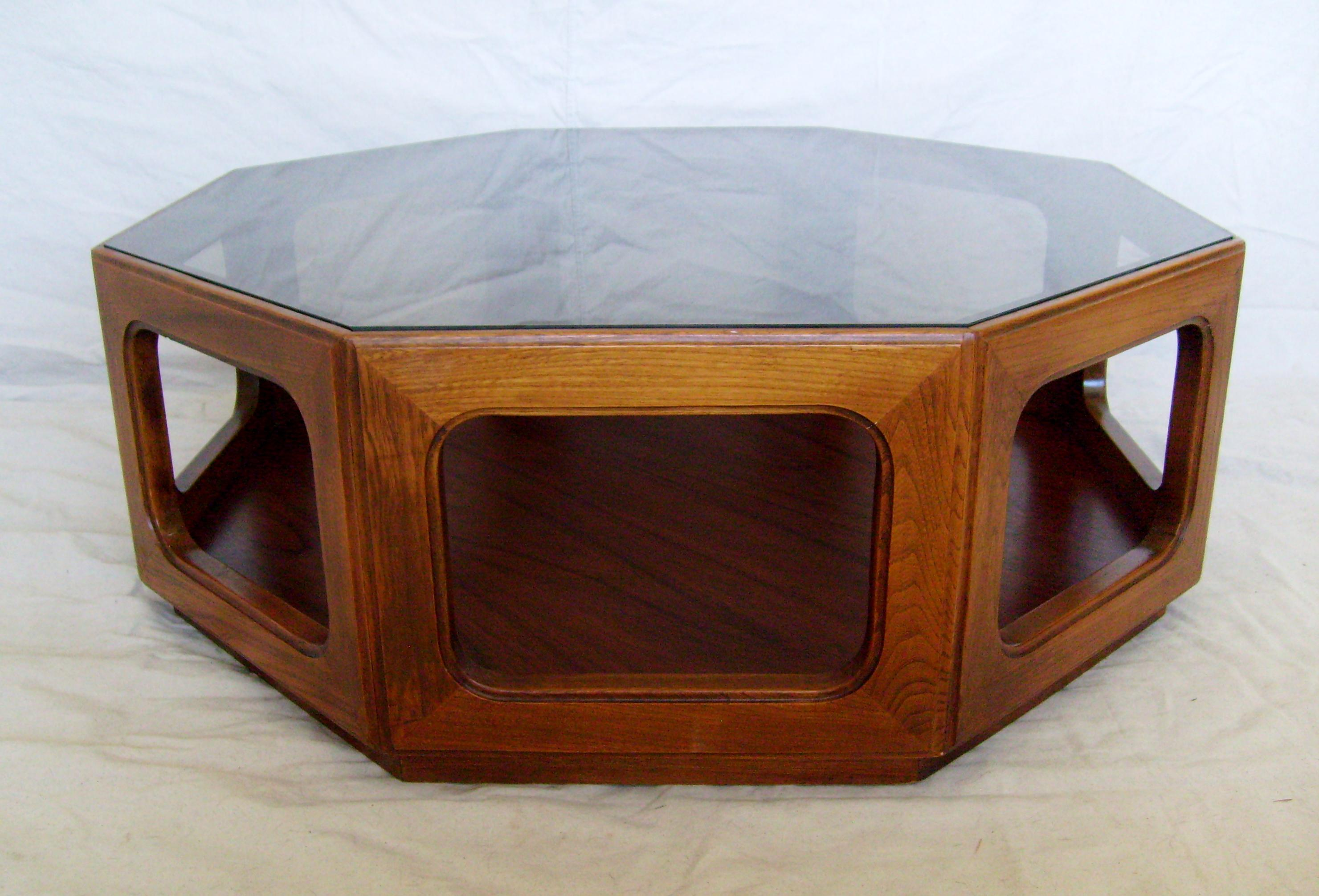 Vintage Mid Century Modern Walnut Octagonal With Tinted Glass Top Coffee  Table   Image 6 Of