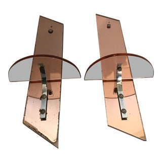 1970s Mid Century Mirrored Brackets - a Pair For Sale