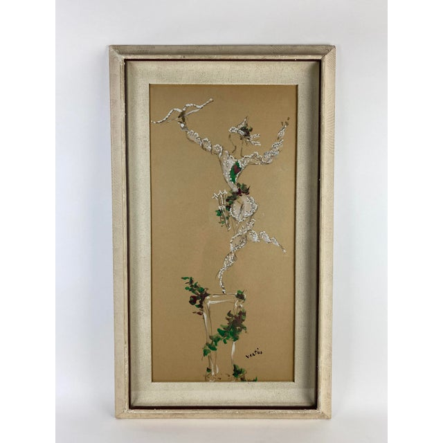 Shabby Chic Marcel Vertes Paintings - a Pair of Whimsical Dancers For Sale - Image 3 of 13