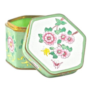 Green Hexagonal Chinese Enamel Box For Sale