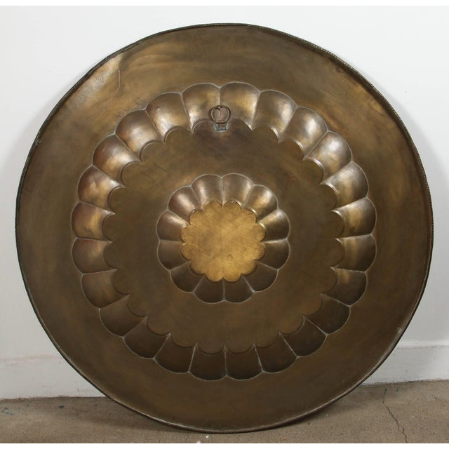 Early 20th Century Monumental Anglo-Indian Brass Hanging Tray Platter For Sale - Image 10 of 13