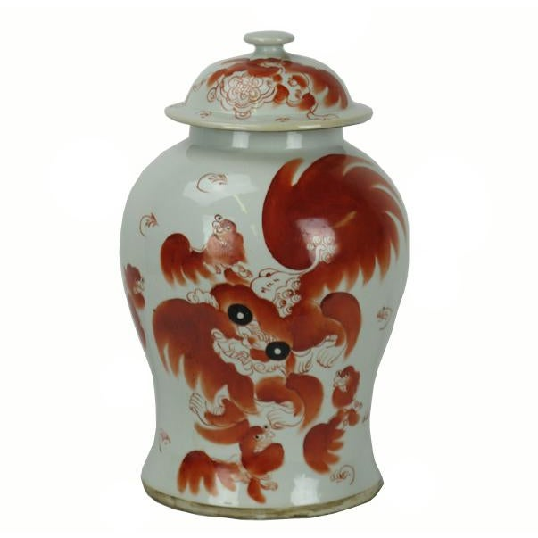 Ceramic Red Dancing Lion Jar For Sale - Image 7 of 7