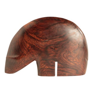 Danish Modern Carved Rosewood Polar Bear Sculpture For Sale