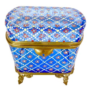 Antique Bohemian Blue Glass Box With Enameled Design For Sale