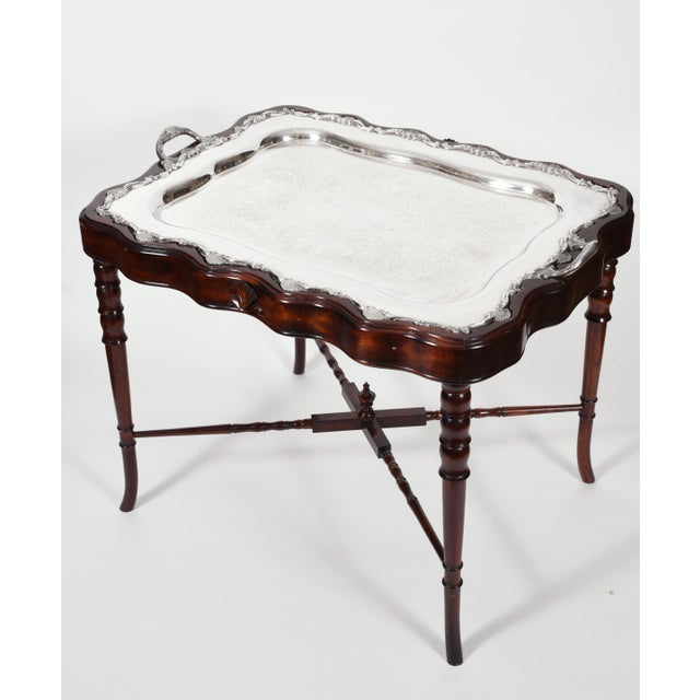 English Traditional Vintage Mahogany Base Frame Silver Plate Tray Table For Sale - Image 3 of 13