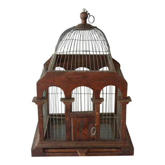 Cathedral Style Wood & Wire Birdcage - Image 1 of 4