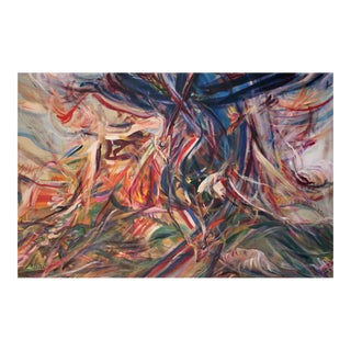 Large Abstract Expressionist Oil Painting by Adine Stix C. 1980 For Sale