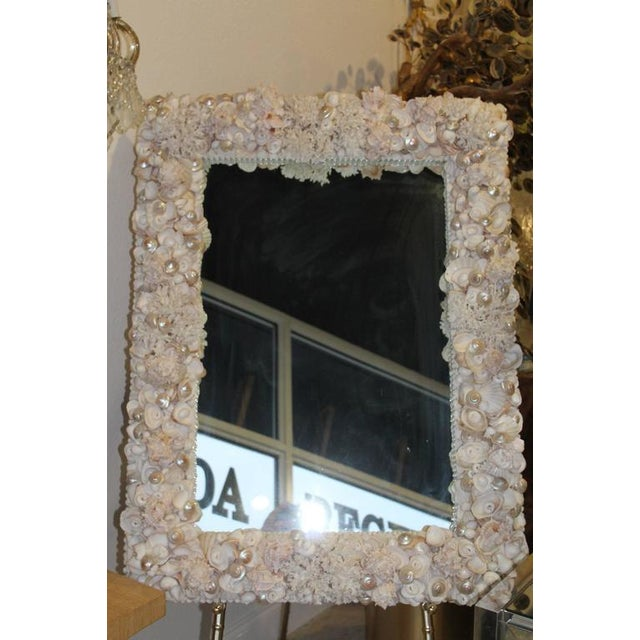 Hollywood Regency Vintage Seashell Encrusted Wall Mirror Palm Beach Vintage Coral Shell For Sale - Image 3 of 5